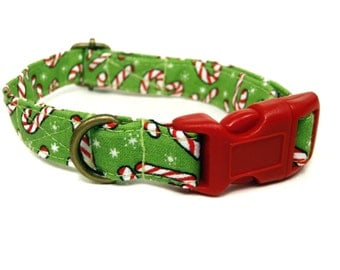 Candy Cane Lane - Organic Cotton CAT Collar Breakaway Safety Green Festive - All Antique Brass Hardware