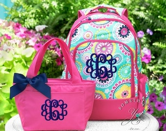 Set of 2 - Monogrammed Backpack and Solid Lunchbox Piper Medallion Pattern, Girls School Bookbag Set, Personalized School Bags for Girls