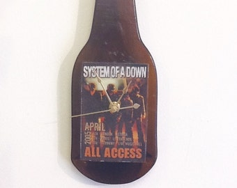 System Of a Down Genuine back stage pass bottle clock, melted bottle, limited edition, access all areas , April 2005 tour