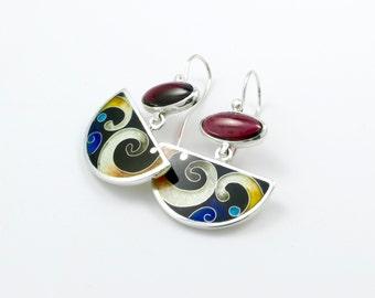 Cloissone Earrings,  Almandite Garnet Streling silver earrings