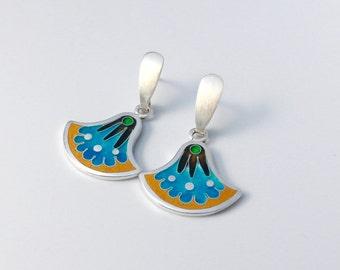 Earrings cloisonne enamel, silver