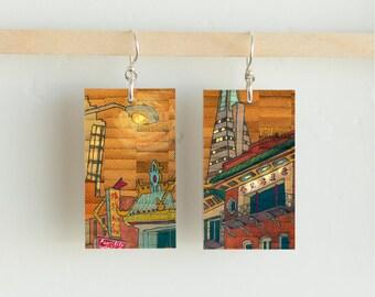 "Pearl City, Paper & Wood Earrings, 1x1.75"""
