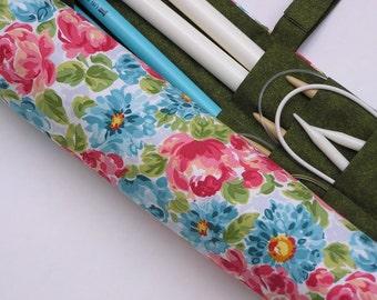 large - knitting needle case - knitting needle organizer - circular knitting needle case - blushstrokes floral- 36 pockets
