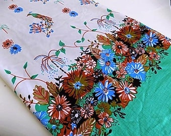 Vintage Polyester Floral Fabric with Birds