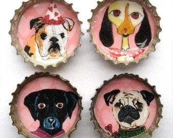 Pink Dog Bottle Cap Magnets - Funny Dog Magnets - Bottle Cap Dog Magnets - Pug - Black Lab -  Bulldog Magnet - Funny Dog Art - Dog Gift