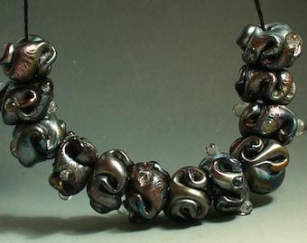 SRA Handmade Lampwork Glass Beads by Catalinaglass Metallic Black Twists
