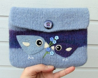 Felted bag pouch purse bag hand knit needle felted blue violet wool purple bird birdies flowers