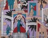 """flapper Deco ladies fabric -- vintage novelty print, 1980s does 1920s -- plain weave cotton -- 45"""" x 3 yards"""