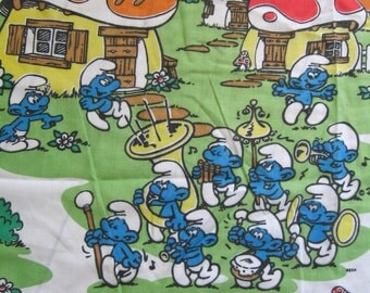 vintage Smurfs sheet -- twin fitted, cotton blend, 1980s -- Smurf-tastic! -- bedding or craft supply fabric