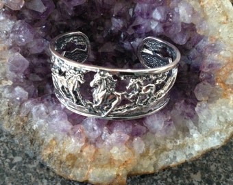 Sterling Silver Running Horses Cuff Bracelet