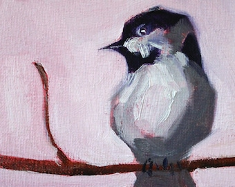 Little Chick, Small Bird Painting, Original Oil Painting, Little 4x6 Chickadee, Tiny Miniature, Feathered Creature, Animal, Gray Black Pink