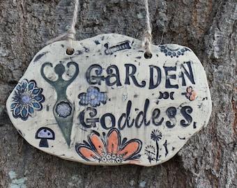 Garden Goddess Ceramic Garden Sign