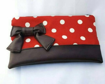 Large Red zippered clutch with off white polka dots and chocolate brown bow and bottom