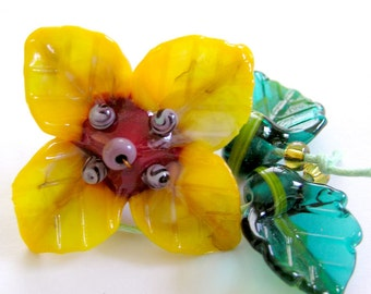 Sculpted handmade lampwork IRIS flower in yellow  with 2 leaves
