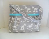 Diaper Bag - Blue Horse - Turquoise - Adjustable Strap - Horse Diaper Bag - Messenger Bag - Bags and Purses -  Stroller Straps