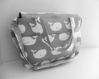 Backpack Diaper Bag - Gray Whale - Zipper Closure - Diaper Bag - Convertible Bag