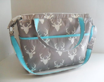 Deer Diaper Bag - Gray Deer - Zipper Closure - Messenger - Tote Bag - Diaper Bag - School Bag - Monogramming Available - Laptop