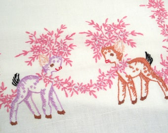 Vintage dresser scarf, hand embroidered, deer with flowers, whimsical, table runner, pink embroidery