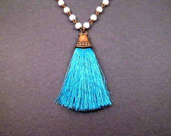 Tassel Necklace, Bright Blue Tassel Pendant, White Beaded Brass Chain Necklace, FREE Shipping U.S.