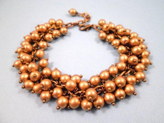 Brassy Cha Cha Bracelet, Brushed Gold Glass Beaded, Brass Wire Wrapped Charm Bracelet, FREE Shipping U.S.