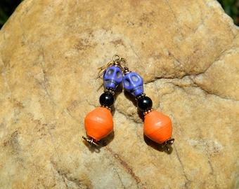 Paper Bead and Purple Magnesite Skull Earrings