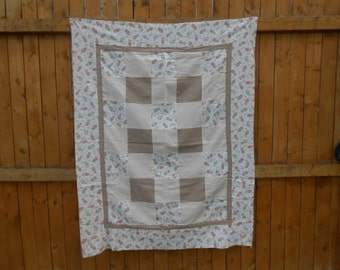 Baby Quilt Top, Unfinished Quilt Checkerboard Pattern, Bunny Baby Quilt Top, Flannel Small Quilt Top Only