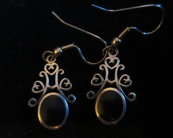 Vintage Sterling Silver Black Onyx Earrings Dangle Gothic