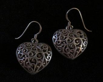 Vintage Sterling Silver Heart Earrings Puffed Filigree Dangle