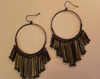 "SALE Very Long 4"" Dangle Earrings Aged Silver Cascading Duster"