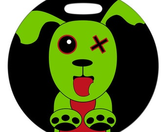 Luggage Tag - Zombie Dog - 2.5 inch or 4 Inch Round Plastic Bag Tag