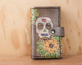 Coin Pocket Wallet - Small Womens Leather Wallet in the Walden Pattern with day of the dead sugar skull and flowers