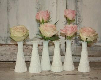 Milk glass vase set, Instant collection, White vase wedding decor, shabby chic vintage wedding table decor, set of 6 milk glass budvases