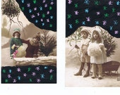 Winter,Snow.Postcards.Antique.TWO.retro.Paris.french.rare.scrap book.christmas.home deco.note.kids.writer.hand painted.vintage.craft.altered