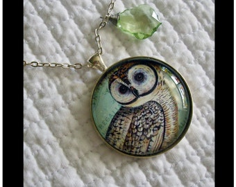 Wise Old Owl...gift boxed pendant with chain and READY to SHIP Paris, french insired, vintage, birds,  whimsy,birds,nature