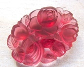 Antique French Lalique Style Frosted Cranberry Floral Molded Glass Stone - 40mmx30mm - 1