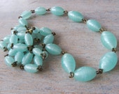 RESERVED FOR MRN Vintage Antique Early 1900s Luminous Aqua Satin Glass Graduated Beaded Necklace - Rewired