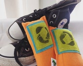 Shoe Pillow Odor Absorbers AS seen on Cover of Green Craft Magazine Upcycled SET of Two Foot Pillows