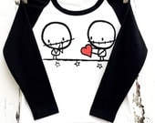 Kids Zombie Love (1-2 yrs) friends Black White baseball raglan sleeve top Love Rocky