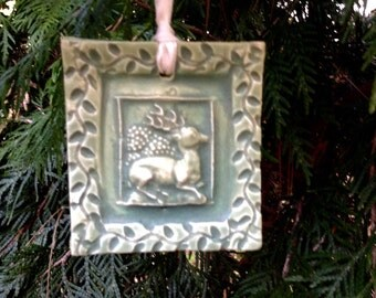 Resting Stag Ornament in Jade Green