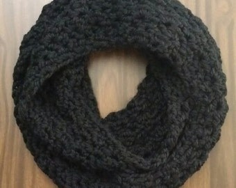 "Black Infinity Loop Cowl Scarf Handmade Crocheted Thick Acrylic Wool Blend 72"" x 5.5"""