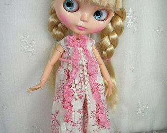 Blythe Overalls, Pink Toile