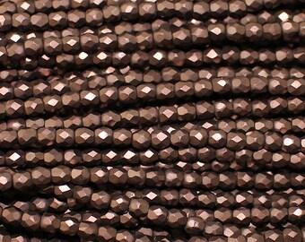 SALE 40% OFF - 3mm Czech Glass Fire Polish Beads - Matte Metallic Dark Bronze