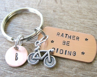 Rather Be Riding Bike Keychain, Bike rider's gift, biking, cycling, optional personalized initial disc, see pictures