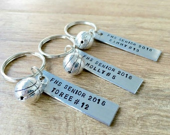 Personalized BASKETBALL Keychains, bulk options, Senior gifts, choose your sport, sports, team gifts, athlete gifts, senior athletes, grads
