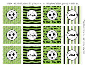 Printable Soccer Birthday Cupcake Toppers - Instant Download