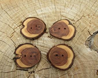 4 Unique Juniper Wooden buttons- handmade buttons 2 inch (5034)