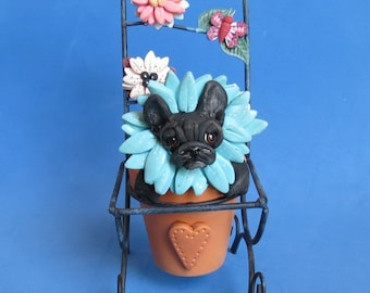 Original OOAK Dog Sculpture Black Reverse Brindle French Bulldog Flower Pot hand sculpted by Sally's Bits of Clay