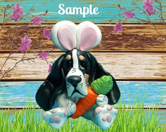 Black and White Tri-Color Basset Hound Easter Bunny dog with Carrot OOAK Clay art by Sallys Bits of Clay