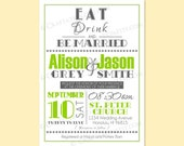 Custom Modern Retro Wedding Invite / RSVP Digital Design Set - Eat Drink & Be Married / Typography - Printable - RESERVED for sammiwho