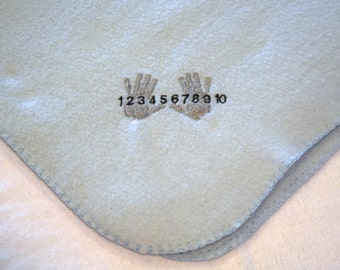 Sale Ten Fingers and Counting Blanket Lightweight Embroidery Fleece ON SALE